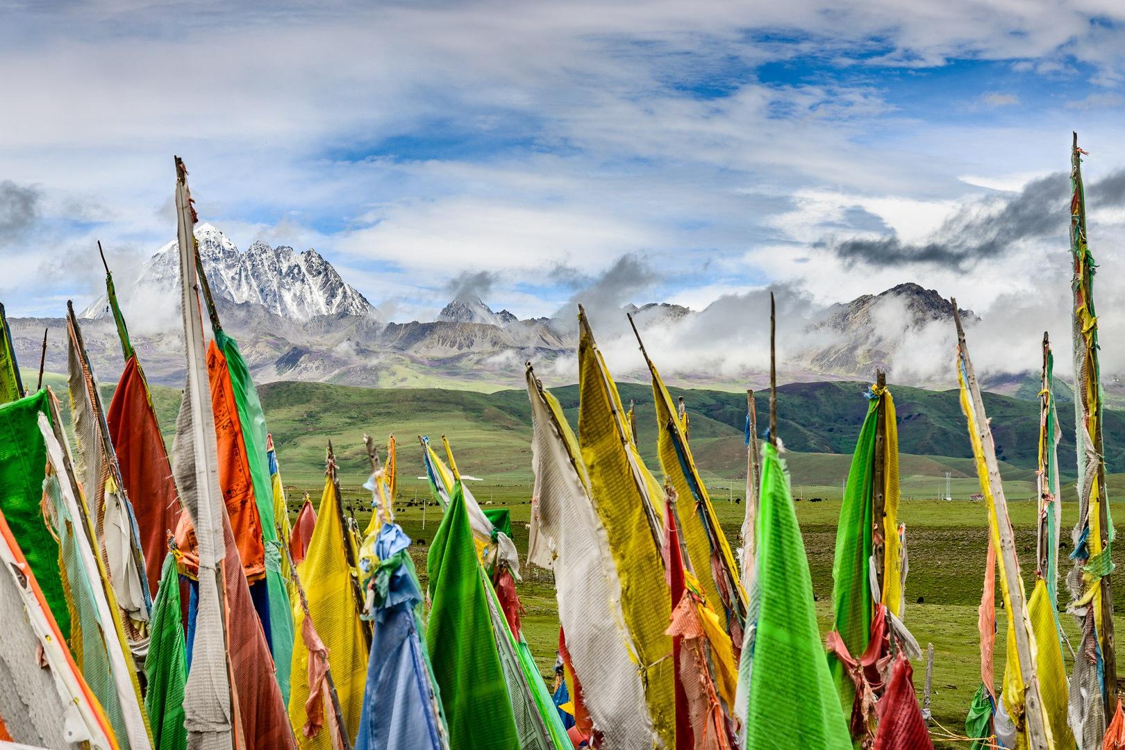 Tagong, prayer flags and grasslands