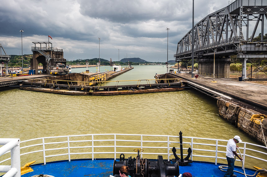 Panama Canal-Entering the Pedro Miguel locks