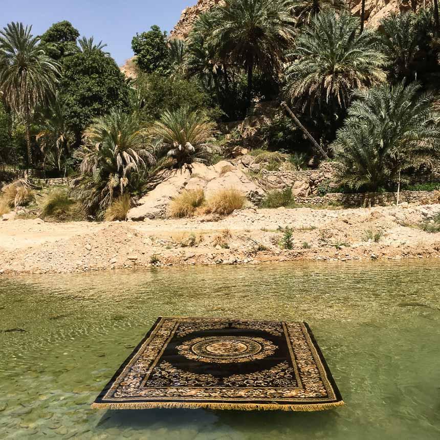 Vliegend tapijt in Oman